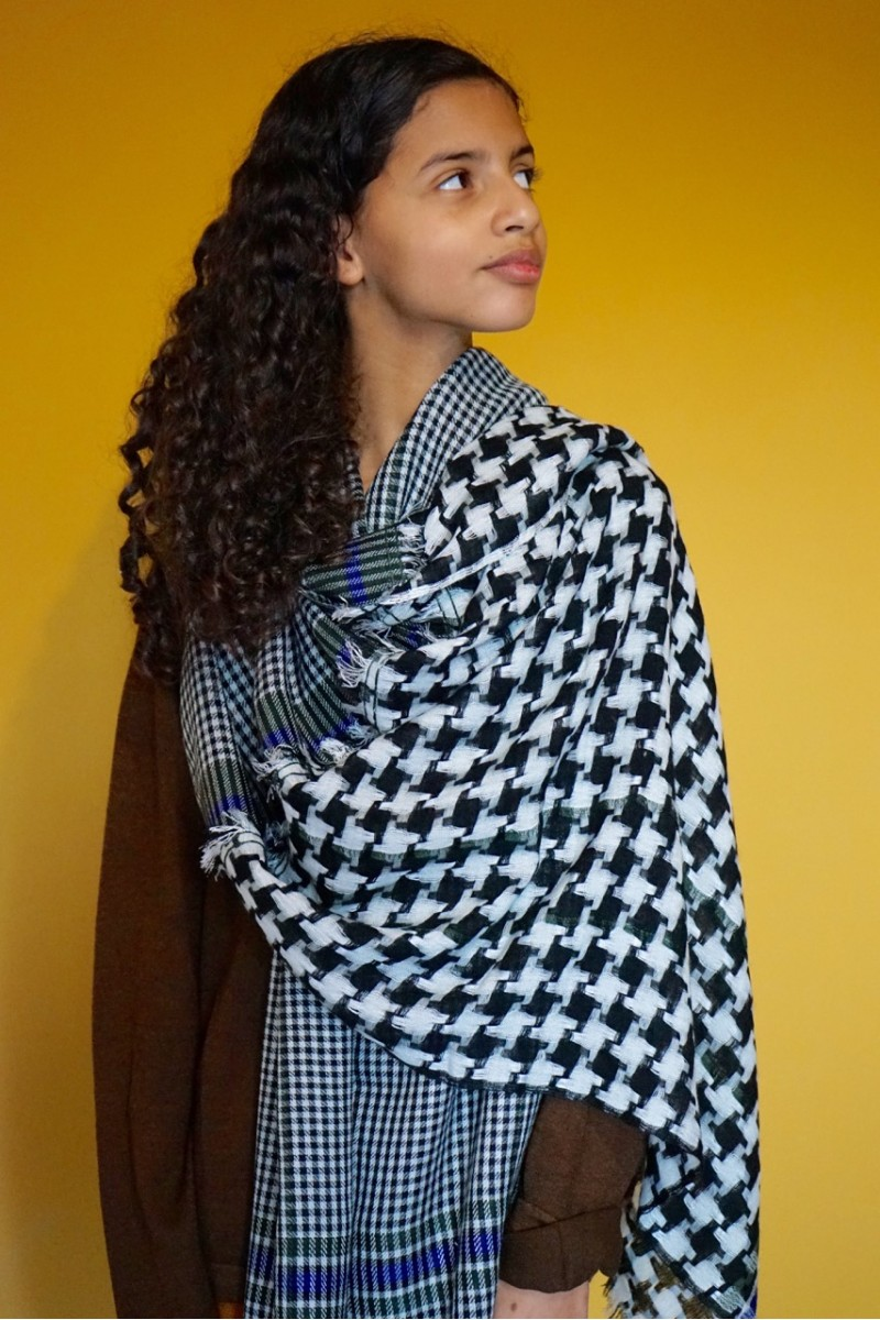 scarf echarpe accessoire accessories sustainable bamboo wool dogtooth pied de poule ethical stole winter
