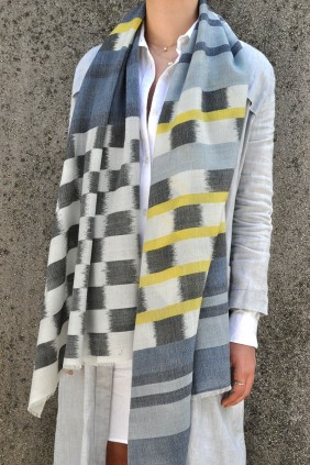 Scarf stole accessories ikat blue hotel tiedye cotton silk