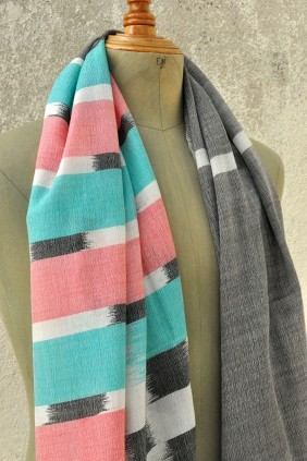 ikat scarf accessories handweave colorful cotton silk